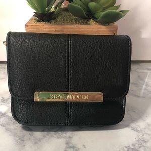 Steve Madden Wallet Black Leather